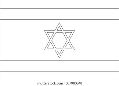 A Skeleton Flag Illustration of the country of  Israel