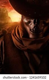 Skeleton ghost cowboy  in black hat closeup portrait view  on desert rails sunset background.