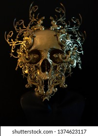 Skeleton, golden skull made with 3d printer and pieces by hand. Gothic piece of decoration for halloween or horror scenes