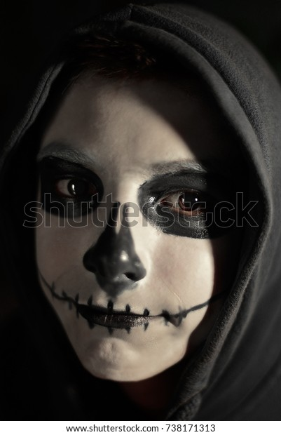 Halloween Make Up Skelet.Skeleton Halloween Makeup Black White Colors Stock Photo