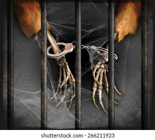 Skeleton hands represent excessively long prison sentences in the US - 3d renders with digital painting.