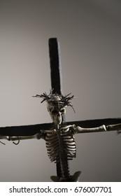 Skeleton Jesus on the cross