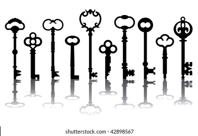 Skeleton key silhouettes with reflections. Vector also available.