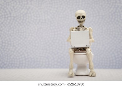 Skeleton with a laptop on his lap while sitting on water closet