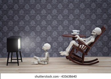 skeleton and little skeleton watching TV