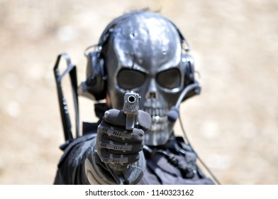 Skeleton Masked Airsoft Player