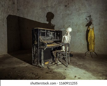 Skeleton playing on a piano in a basement