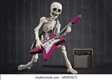A Skeleton rocking with his electric guitar