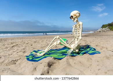 Skeleton sits on a beach towel relaxing in the sand