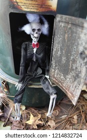 Skeleton sitting in a furnace