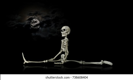 Skeleton Split / Halloween skeleton stretching at night in front of a nice cloud covered moon.