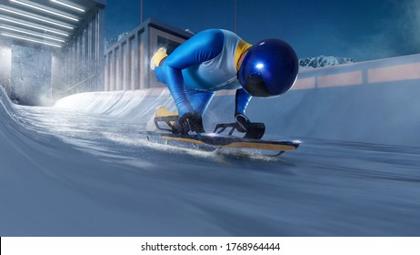 Skeleton sport. Bobsled. Luge. The athlete descends on a sleigh on an ice track. Winter sports.