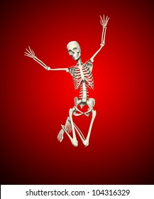 Skeleton that is jumping for joy