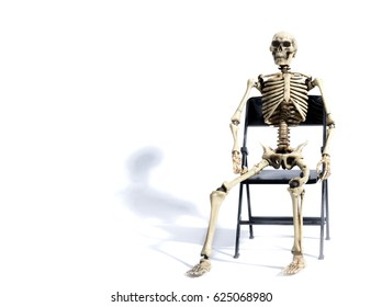 Skeleton waiting with shadow