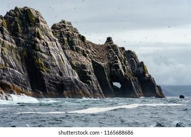 Skellig Michael, the star wars  island under beautiful blue sky and calm sea, ireland