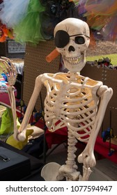 A Skelton Pirate sits in a vendors booth at Mumfest,in New Bern North Carolina