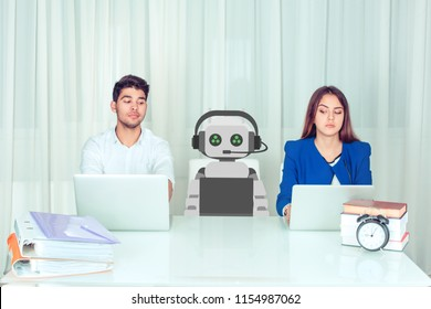 Skeptical corporate employees at work looking at robot colleague with skepticism and jealousy while cyborg is working. People vs robot at work
