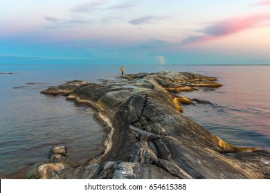 Skerries of Ladoga lake ,Karelia, Russia