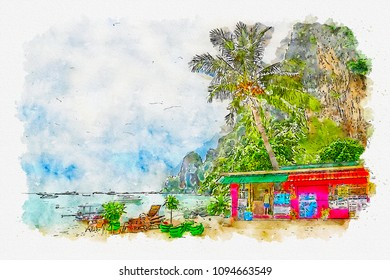 Sketch of the Asian beach with a shop in bright watercolors