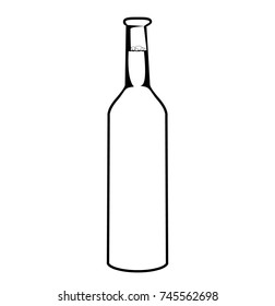 sketch of bottle. Beer bottle isolated on white background. Simple line drawing. Black and white.