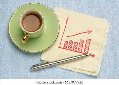 sketch of business graph on a napkin with a cup of coffee - trend, growth and prediction concept