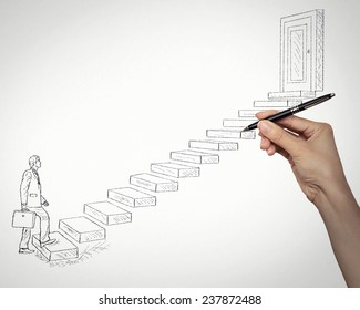 Sketch of business man walking up stairways leading to closed corporate office door. Promotion challenge career concept. Life perception vision attitude determination. Life of young entrepreneur