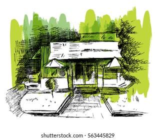 Sketch cafe on green background. Hand drawn illustration.