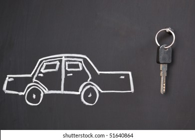 sketch of car and real keys on the blackboard