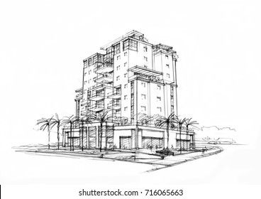 sketch of city building -1