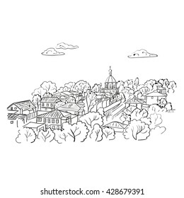 For Coloring Book Vector Illustration Sketch City Doodle Cityscape Isolated On White Hand Drawn Raster