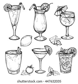 Sketch cocktails and alcohol drinks set. Hand drawn illustration. Martini, bloody mary, margarita, tequila, cosmopolitan, mojito, pina colada and other. Set 2.