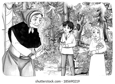 The sketch coloring page - artistic style - illustration for the children