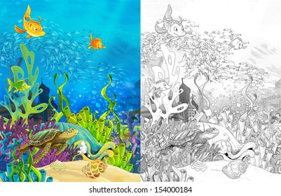The sketch coloring page with preview - artistic style - illustration for the children