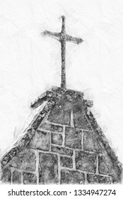 Sketch of cross on an old church top