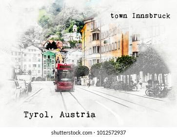 sketch digital illustration of Austrian travel place