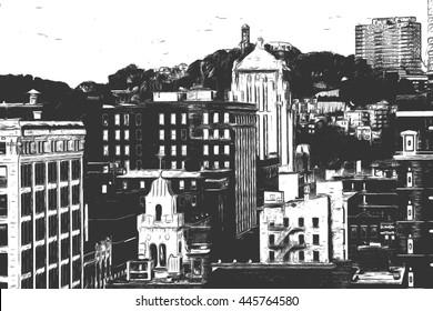 Sketch Drawing of Cincinnati City Skyline