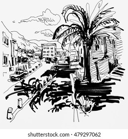 Sketch drawing of Petrovac street with palm in Montenegro, travel illustration