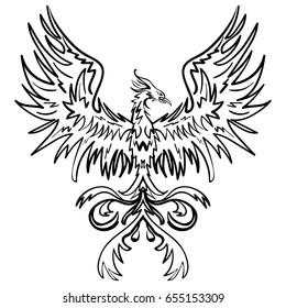 Sketch drawing of Phoenix isolated on white background tattoo phoenix illustration