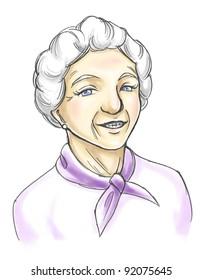 a sketch of an elder lady