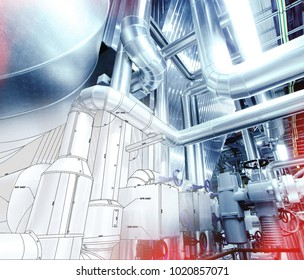Sketch of Equipment, cables and piping as found inside of a modern industrial power plant