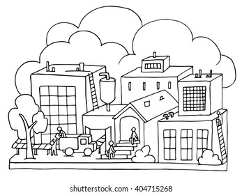 Sketch of factory work with working people, workshop, production. Doodle  manufacture, plant with clouds, trees, workers. Hand drawn cartoon illustration  for business design isolated on white.
