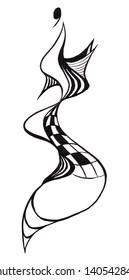 sketch of fashion model - design of evening dress based on snaking snake