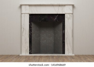 Sketch of fireplace in modern home interior