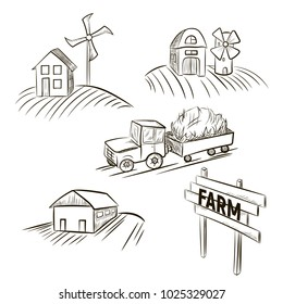 Sketch of hands drawing a farm. Tractor, farm and mill set