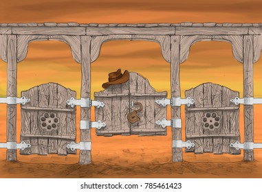 sketch of an interior of cowboy's bar in the wild West