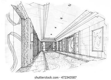sketch interior perspective lift hall, black and white interior design.