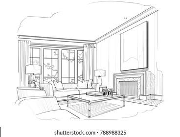 Sketch Living Room, Black And White Interior Design