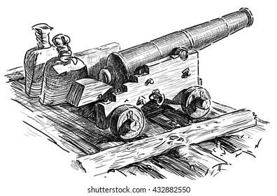 sketch of an old artillery gun