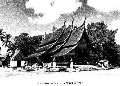 Sketch of Old Buddhist Temple of Wat Xieng Thong in Luang Prabang, Laos
