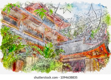 Sketch of the old building in Asia in watercolors